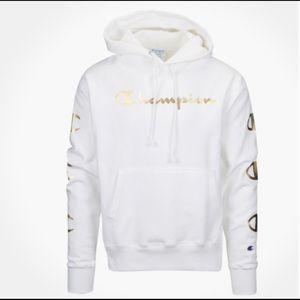 Champion Reverse Weave Logo Script Spellout Gold
